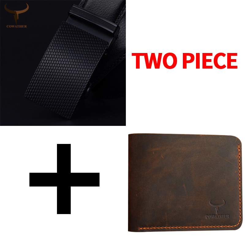 COWATHER Automatic Buckle Men Wallet And Cow Genuine Leather Wallet Set Top Quality Cowhide Belts And Wallets Suit Free Shipping