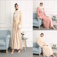 2017 Dubai Style Women Muslim Kaftan Open Cardigan Jilbabs Abayas Islamic Arab Amira Long Sleeve Dress Maxi Clothing New