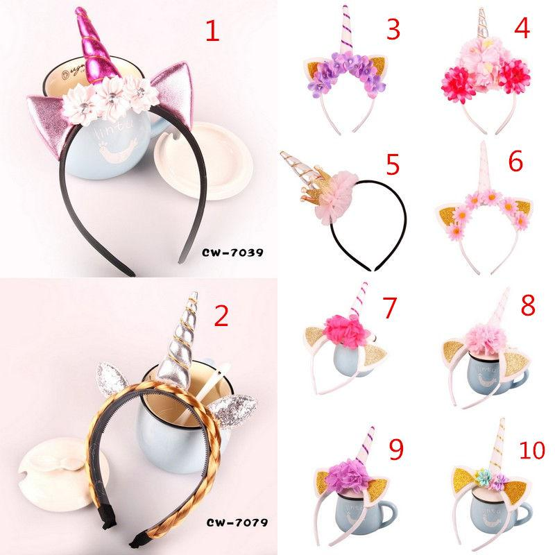 New Baby Unicorn Party Hairband Children Birthday Party Flower Hair Clasp Cosplay Crown Kids Cute Lovely Headband Cat Ear