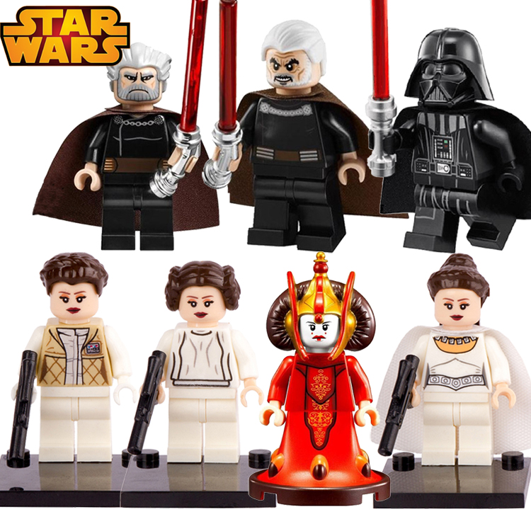 1 Pc Star Wars Princess Leia Count Dooku Met Rode Lightsaber Bouwstenen De Kracht Wekt Darth Vader Amidala Kids Diy Speelgoed