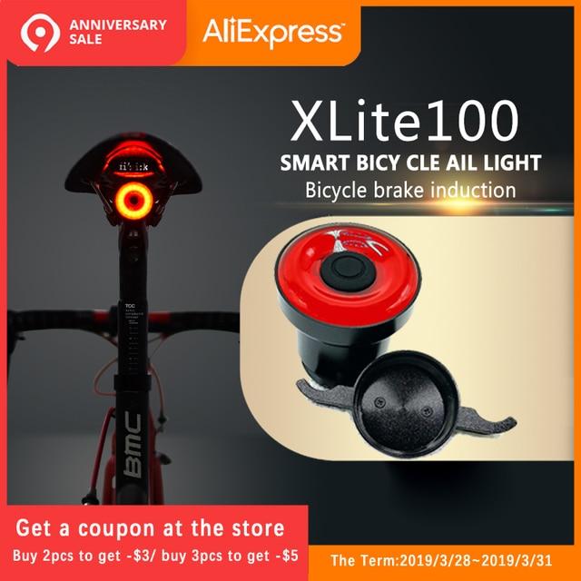 Luces traseras de bicicleta Xlite100 luces de freno de sensor inteligente ENFITNIX usb bicicleta de carretera MTB luces traseras y soporte de placa de número