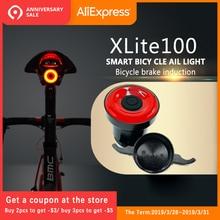 Xlite100 luces traseras de bicicletas inteligente sensor de las luces de freno ENFITNIX usb bicicleta de carretera MTB trasera luces traseras y número de soporte de la placa