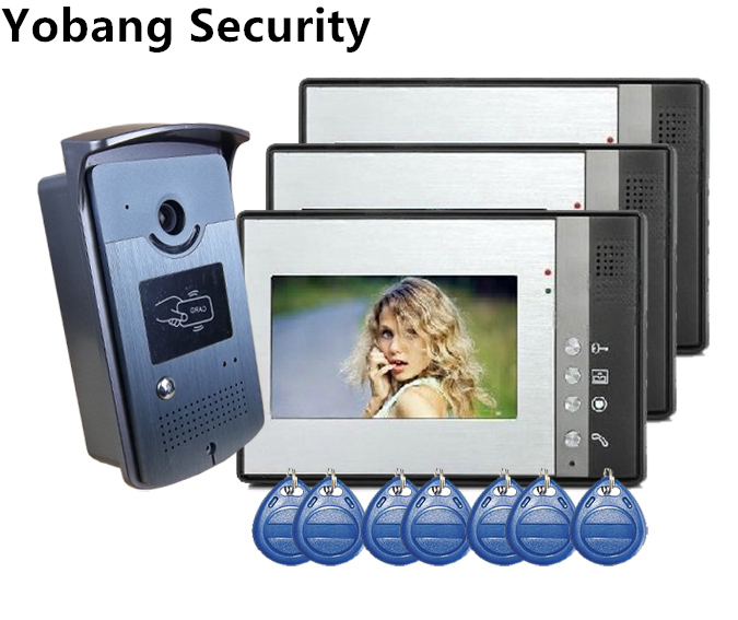 Yobang Security freeship Door Phone Video Intercom RFID Access Camera +3 monitors RFID Access video door Intercom home doorbell 1v3 doorbell camera 2 4ghz video wireless videocitofono video door phone with 3 indoor monitors for door access security