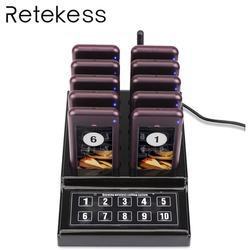 Restaurant Pager Wireless Waiter Paging Queuing Calling System Buzzer Quiz With 1 Keypad Transmitter + 10 Pager For Cafe Church