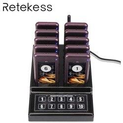 Restaurante localizador inalámbrico camarero llamando al cola a sistema de timbre concurso con 1 teclado transmisor + 10 busca para café de la Iglesia