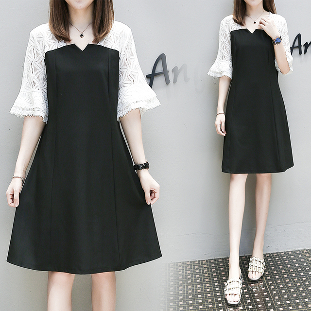 f3f78c79252 5xl plus big size women clothing 2017 spring summer style autumn korean  lace stitch cute sweet casual party dress female A4378