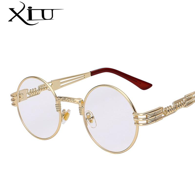 Sunglasses Men Mirror Round Shades Gothic Steampunk Metal High-Quality Brand Designer