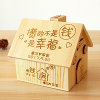Wooden House Coin Plastic Piggy Bank Box Favors Cute Money Boxes Jar Saving Woody Funny Money Pot Decorations Products 50B3072