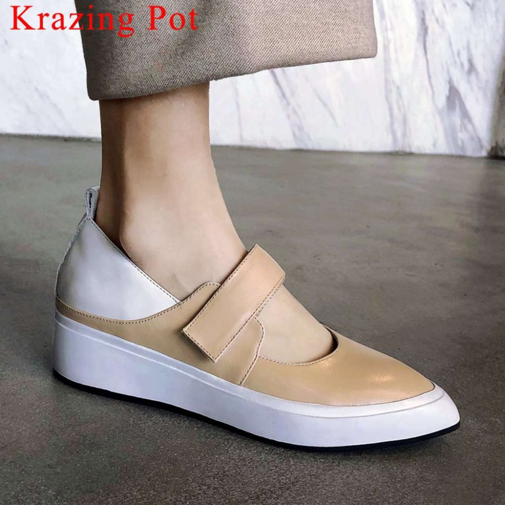 2019 cow leather concise oxford mixed colors young girls sneakers hook&loop pointed toe med bottom platform vulcanized shoes L682019 cow leather concise oxford mixed colors young girls sneakers hook&loop pointed toe med bottom platform vulcanized shoes L68