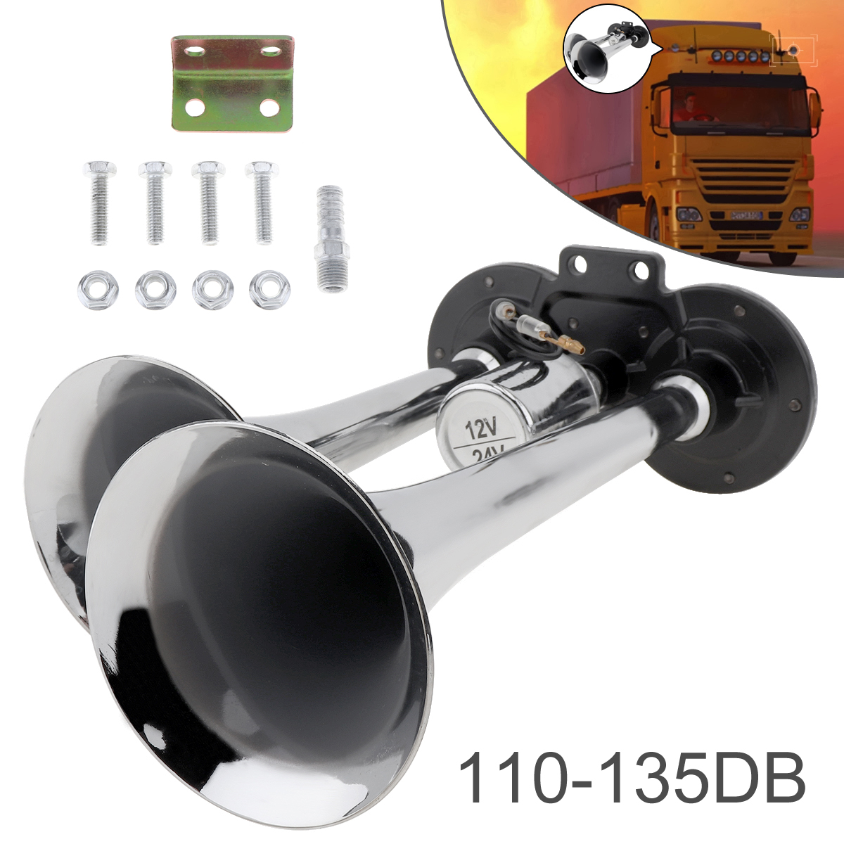 12v 24v 110 135db Super Loud Car Air Horn Heavy Duty Dual Trumpet Train Two Tone Auto Set