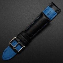 De cuero de vaca suave cuero negro reloj de la correa 20 mm correa de reloj pulsera de la correa más grueso hombres relojes accesorios con el azul cosido