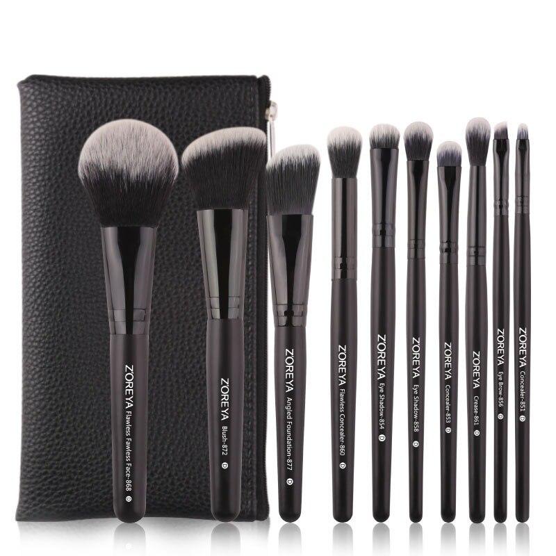 0a1dfb5922b0b Zoreunids ya 10 PCs negro clásico pinceles de maquillaje con base de pelo  sintético de alta