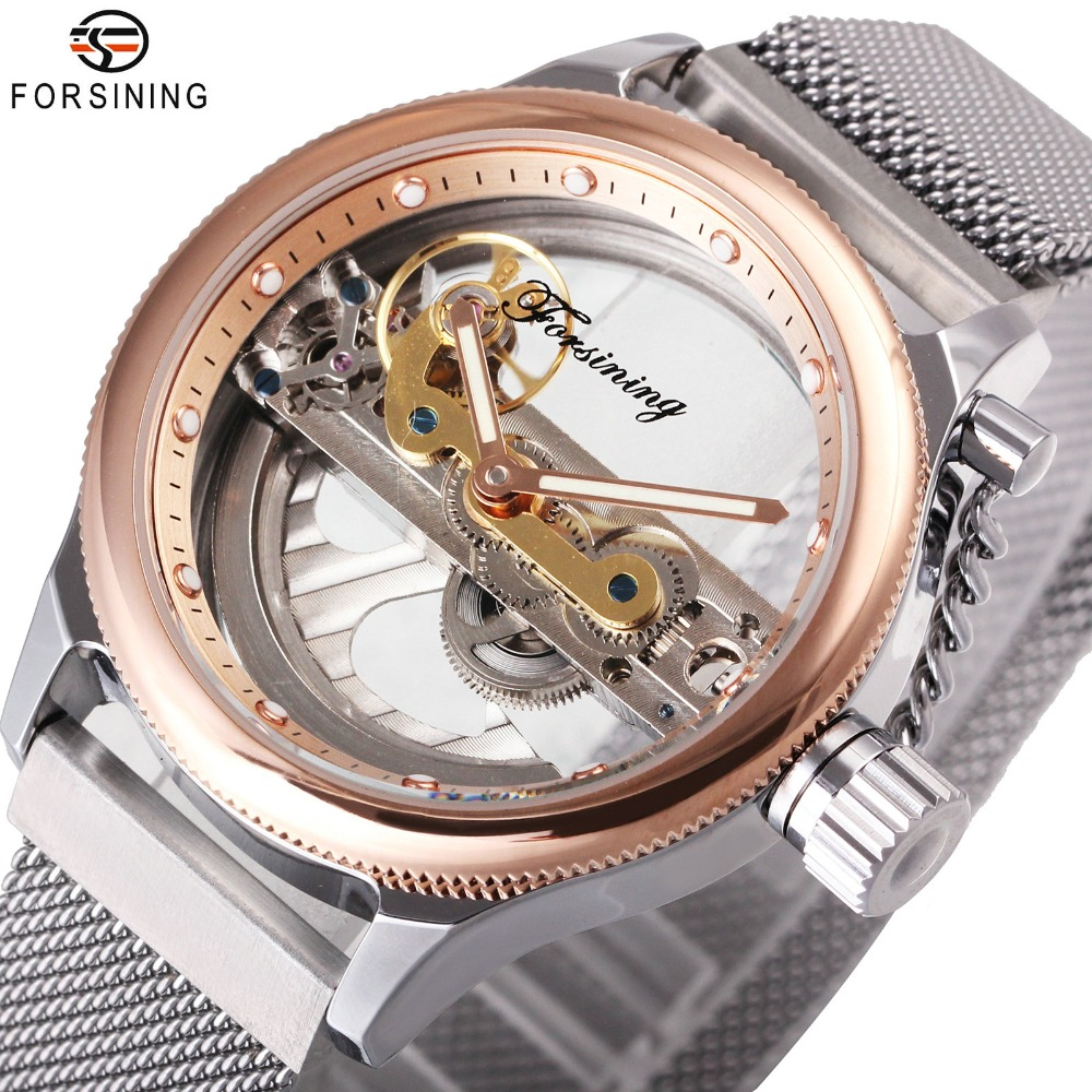 FORSINING Top Brand Luxury Men Watches Magnet Mesh Strap Golden Bridge Transparent Case 3D design Fashion Mechanical Watch forsining 3d skeleton twisting design golden movement inside transparent case mens watches top brand luxury automatic watches