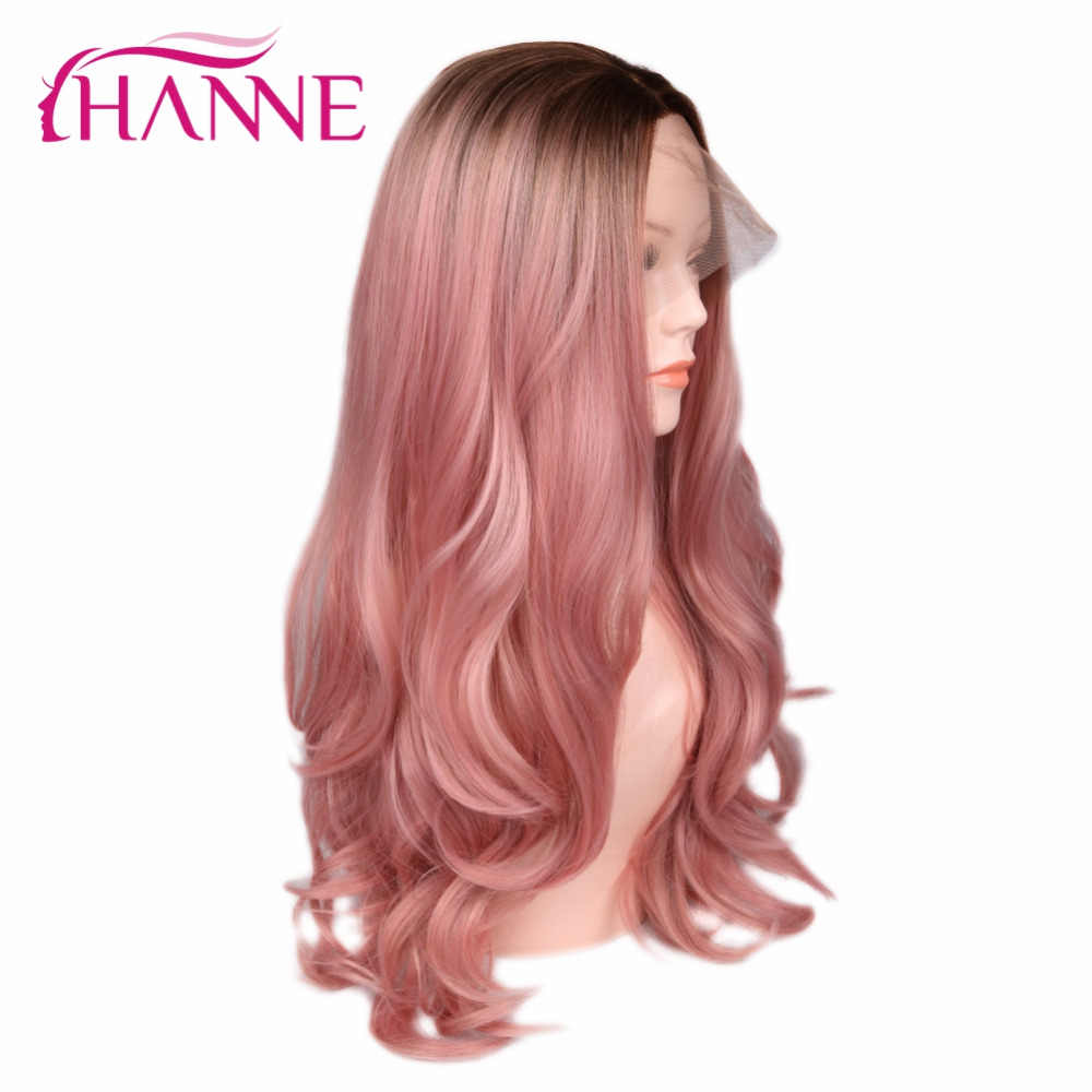 HANNE Blonde Rose Pink/Blonde Ombre Wig Long Wavy Heat Resistant Fiber Synthetic Hair Wig Lace Front Wigs For Black/White Woman