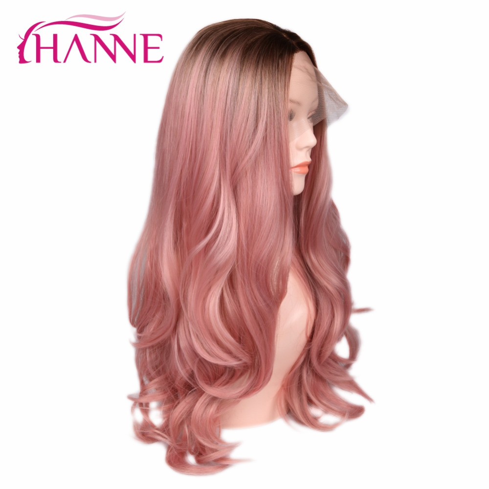 HANNE Blonde Rose Pink Ombre Wig Long Wavy Heat Resistant Fiber Synthetic Hair Wig Lace Front Wigs For Black/White Woman