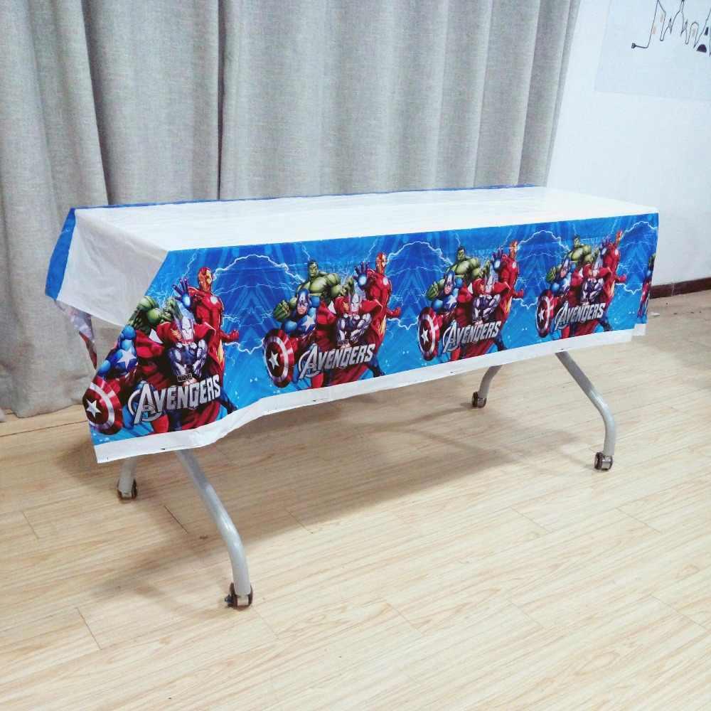 108 Cm * 180 Cm Avengers Dekorasi Pesta Superhero Perlengkapan Pesta Taplak Meja untuk Ulang Tahun Anak Festival Disposable Taplak Meja Set
