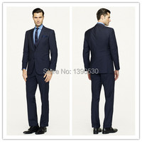 2014 HOT SELLING 100 Wool Hand Made Slim Fit Dark Navy Striped 2 Pieces Jacket Pants