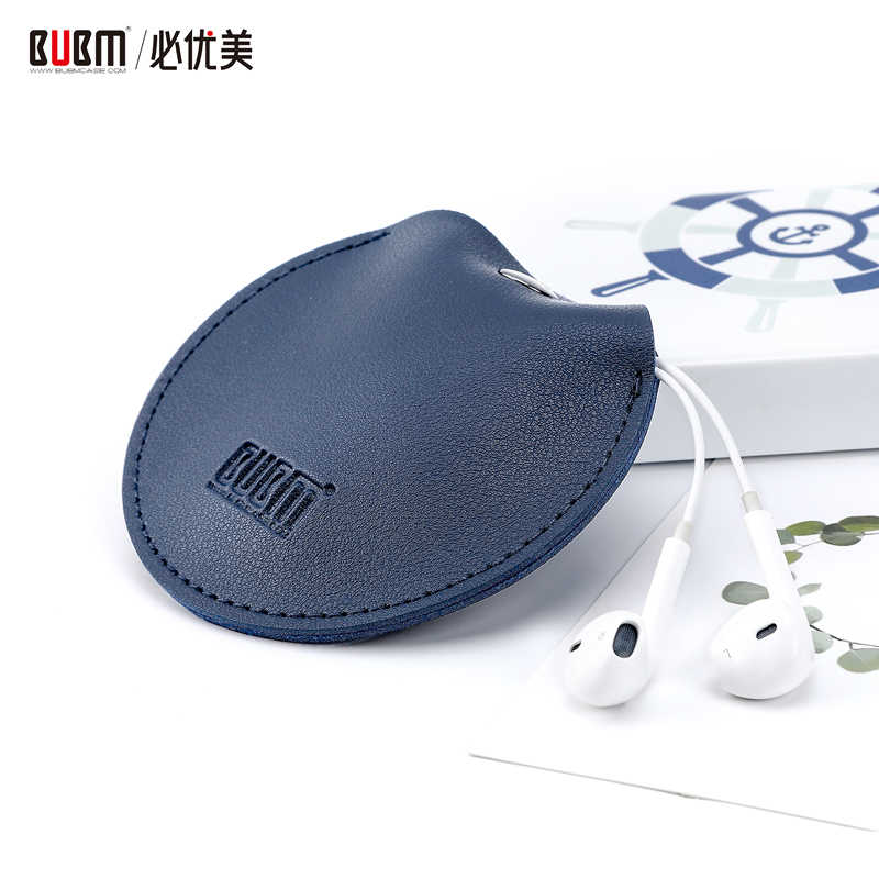 BUBM Leather Earphone Holder Magnetic Buckle Headphone Bag E-Carry Colorful Headset Accessories Case for Earbuds Charger Coins