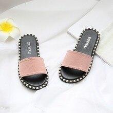 Летние Тапочки Modis; детские тапочки ярких цветов на плоской подошве для маленьких девочек; повседневная обувь; тапочки для девочек; тапочки на плоской подошве