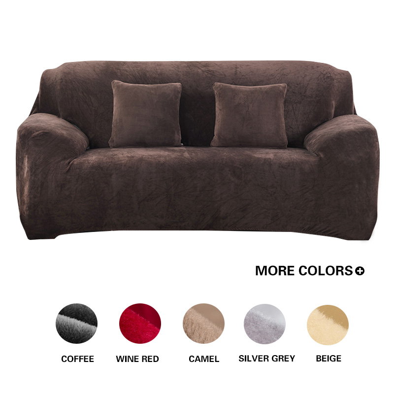 Grijze / effen kleur Pluche Sofa Cover Elastische Sofa Hoes Stretch Couch Cover Hoek Sectionele L-vormige Sofa Cover voor de woonkamer