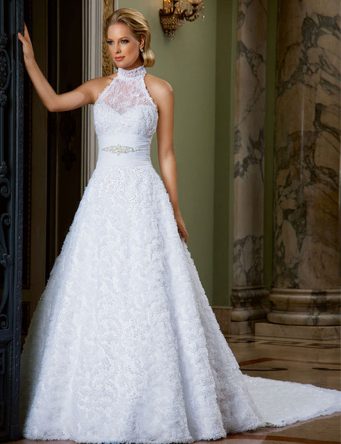 Gorgeous wedding gowns bride dresses See through back High neck ...