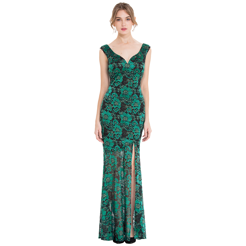 Angel fashions Women s Floral Lace Party Dresses V Neck Special Birthday Christmas Costume Gown Green