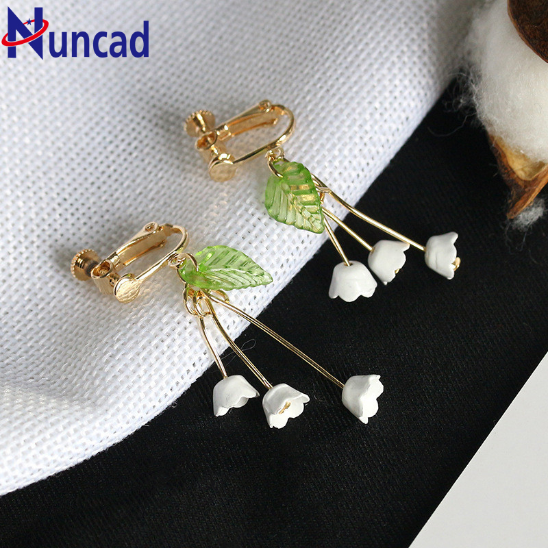 Fresh Flower Korean Little Woman Orchid Lily Convallaria Dangle Long Earring Ear Clip Cute Beautiful Earrings 1 Pair For Women