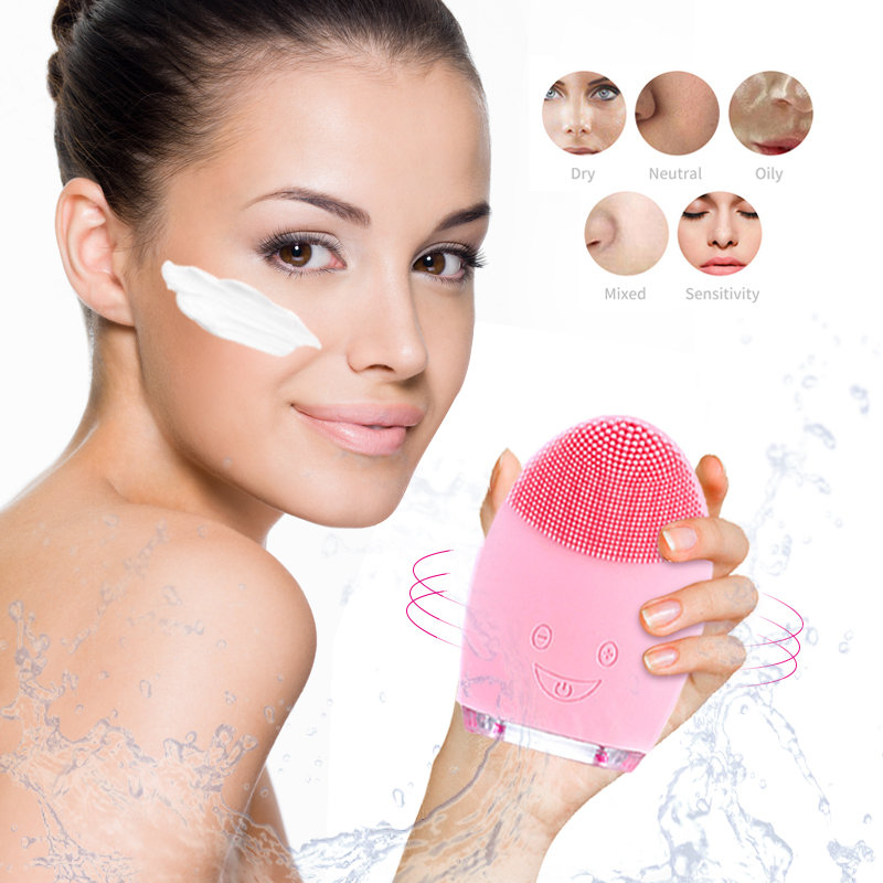 Electric Vibration Facial Cleansing Brush Remove Blackhead Pore Cleanser Waterproof Silicone Cleansing Tools Face Massager