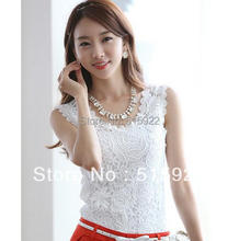 2017 new women lace vest plus size basic sleeveless lace tank top shirt flower white tops