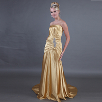 Strapless Gold Prom Dresses Mermaid Style Vestido Fiesta Gala Long Pleats Evening Dresses Soft Satin Custom Formal Party Gowns