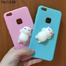 For Huawei P10 Lite Case Cat Cute Squishy 3D Soft TPU Silicon Cartoon Phone P8 2017 Back Cover P9