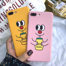 Banana Milk Cute Phone Case for iphone 6 6s 7 plus 8 for iphone X cover Cartoon kawii Big eyes baby drink milk Back Cover Cases(China)