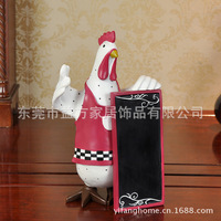 C Europe and home style taste resin rooster cartoon chef kitchen bulletin board decorations Decoration