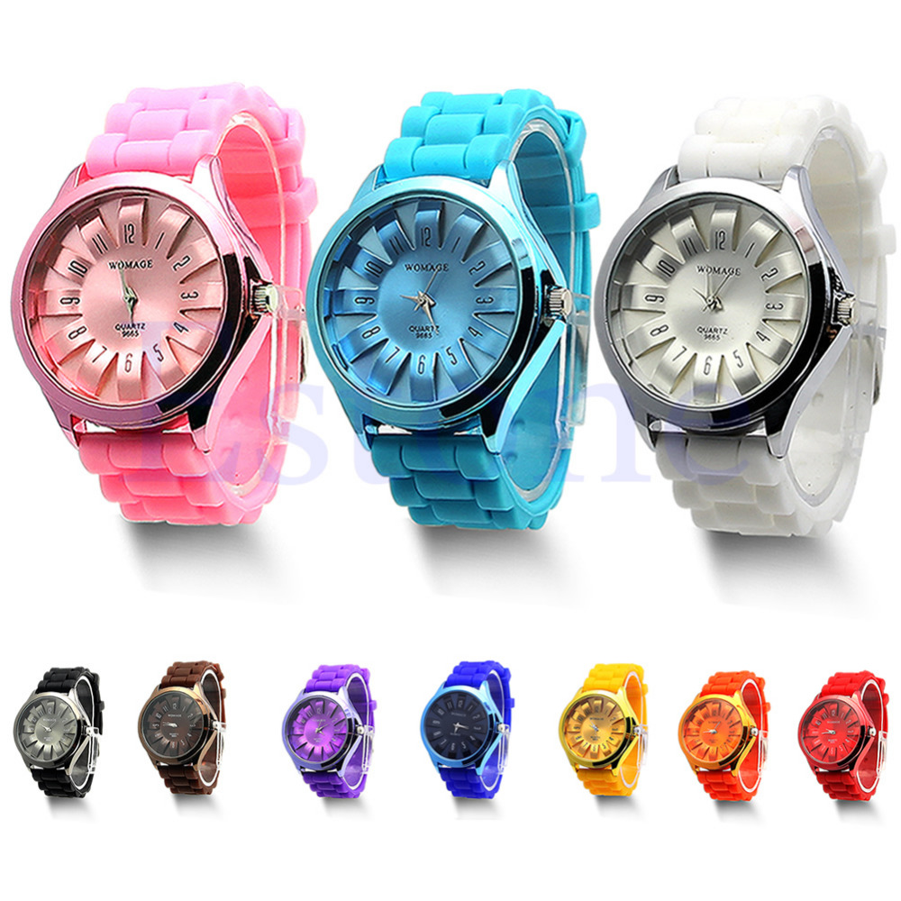 1 PC Fashion Pretty Jelly Wrist Watch Men Women Silicone Quartz Sports Watch Geneva