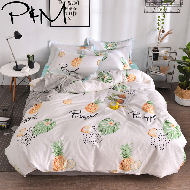 PAPA&MIMA fashion yellow pineapple plant bed linen Bedding sets bed Sheet Pillowcase Duvet Cover Sets bedclothes set