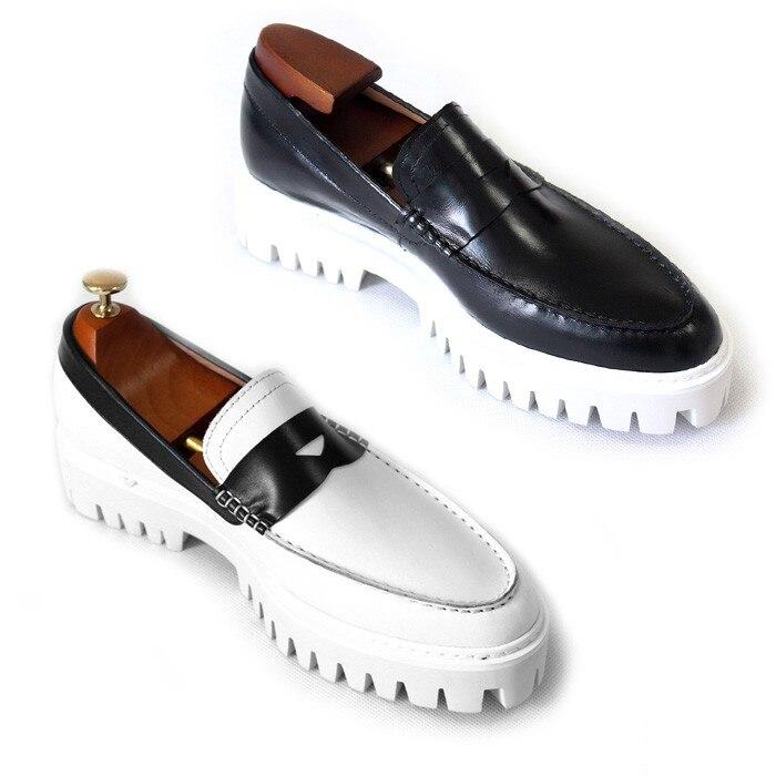 Plataforma Losse Preto Branco De Mocassins Couro Condução 2018 Sobre Sapatos Para 2 1 Primavera Homens Genuíno Quente Deslizar qgIw5g