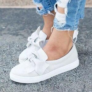 Image 5 - MCCKLE حذاء بدون كعب للنساء مقاس كبير سهل الارتداء بربطة عنق حذاء مسطح للخياطة حذاء بفيونكة غير رسمي للإناث حذاء بدون كعب