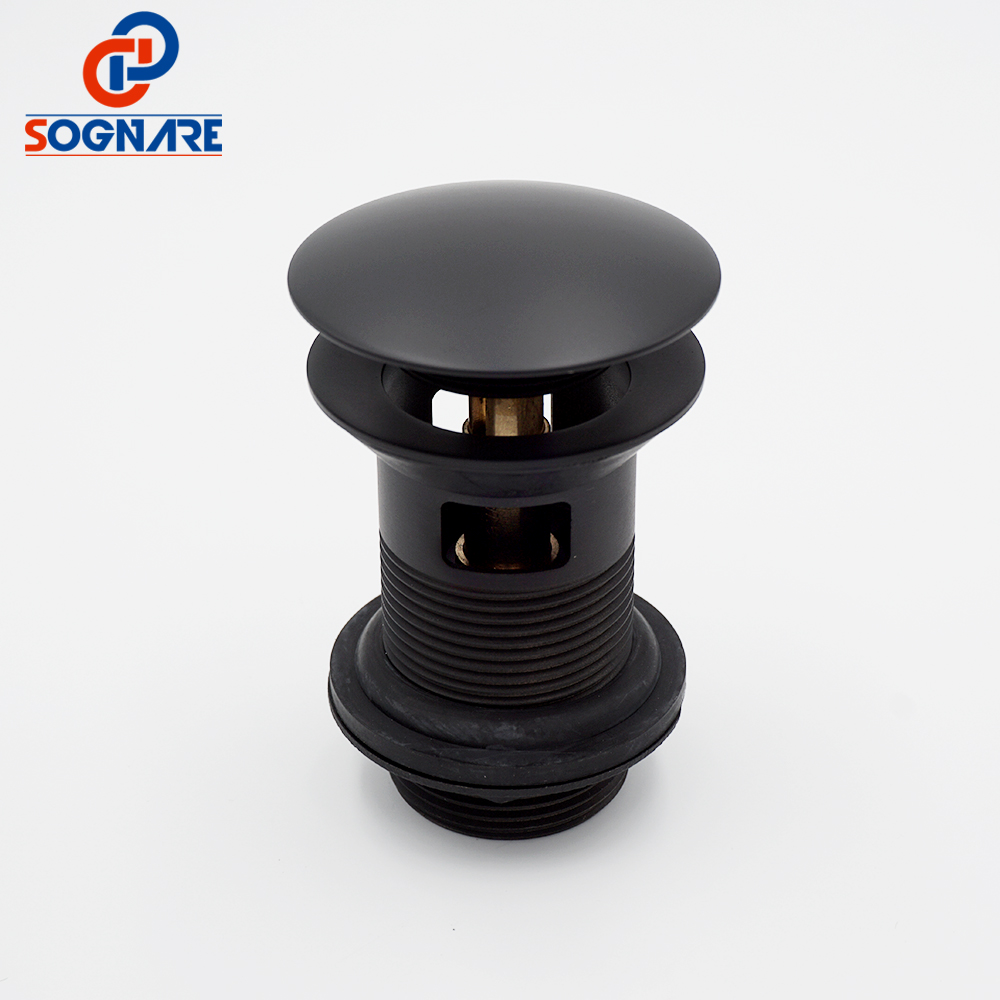 Bathroom Lavatory Black Matte Sink Pop Up Drain With/Without Overflow Bathroom Parts Faucet Accessories Drainer Round Style P502