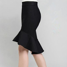2016 spring and summer high waist slim hip skirt female bust skirt ruffle slim midguts fish tail skirt step skirt недорого