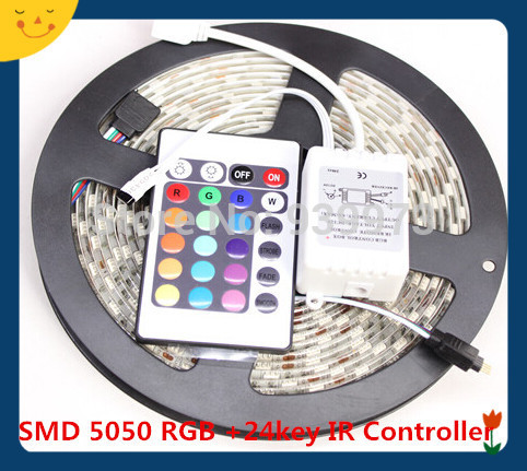 5m <font><b>300</b></font> <font><b>LED</b></font> <font><b>5050</b></font> RGB/single color waterproof color changing fleixble <font><b>strips</b></font> + 24 Keys IR remote controller image