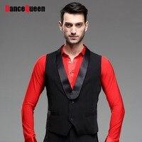 2018 New Men Ballroom Dance Tops Sleeveless Suit Vest Waistcoats Black Dance Top DQ7006