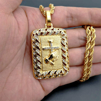 New Gold Color Cross Hands Hiphop Bling Necklace With Zircon Mens Religious Jewelry Iced Out Prayer Jesus Women Men Gift