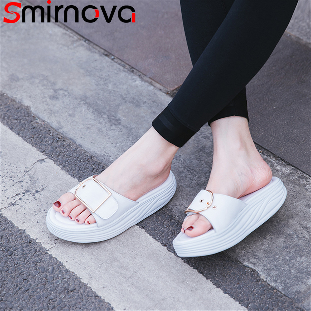 Smirnova 2018 fashion summer new shoes woman casual comfortable sandals women flat platform genuine leather shoes black white free shipping fashion summer 2017 new women shoes casual genuine leather flat shoes breathable soft comfortable