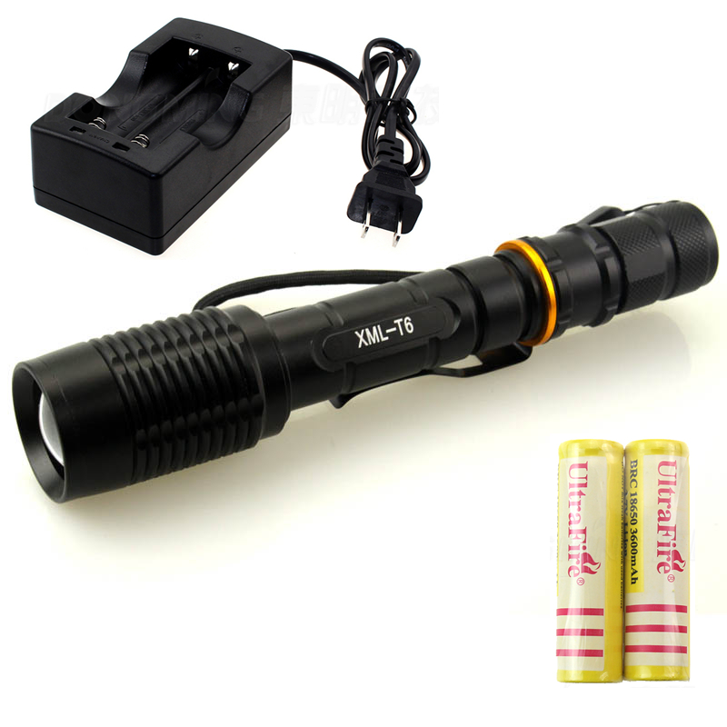 zoomable 5000 lumen led flashlight cree xml T6 5 mode  tactical torch flashlight with clamp + 2 x 18650 battery + 1 * charger crazyfire led flashlight 3t6 3800lm cree xml t6 hunting torch 5 mode 2 18650 4200mah rechargeable battery dual battery charger