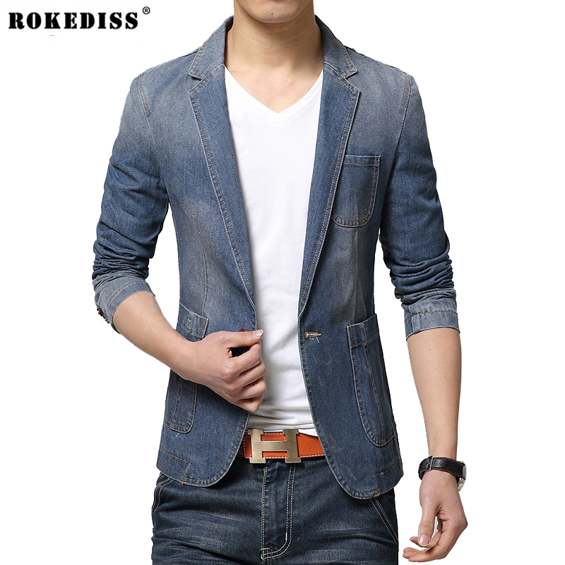 HOT 2016 New Spring Fashion Brand Men Blazer Men Trend Jeans Suits Casual Suit Jean Jacket Men Slim Fit Denim Jacket Suit Men