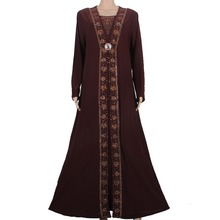 Islamic Clothing for Women Muslim Abaya Dress Beading Design Modest Jilbabs and Abayas Kaftan Dress Coffee 55X1090-1