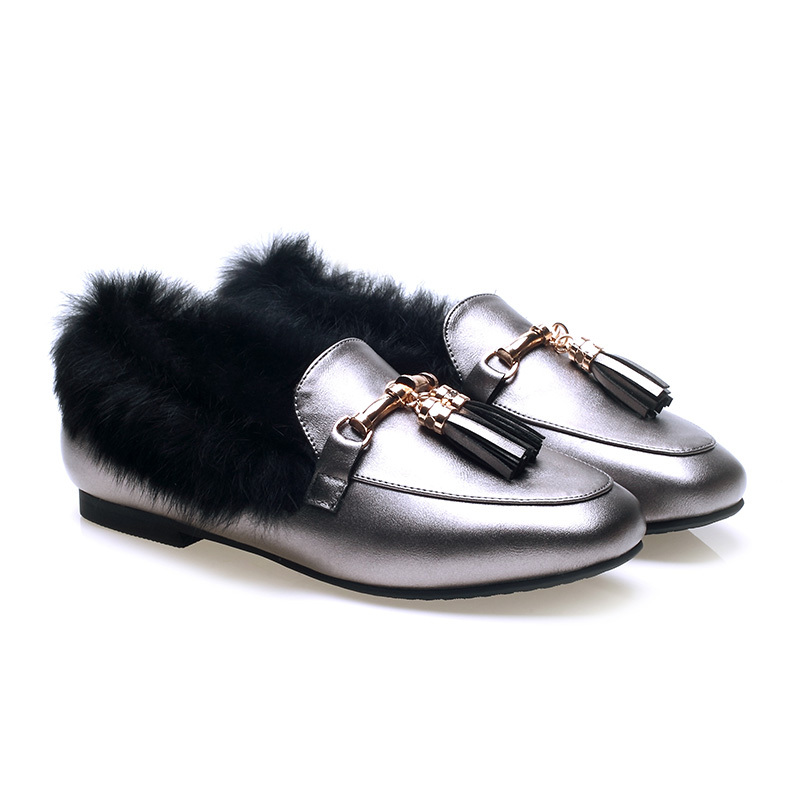 Winter Fashion Pointed Toe Tassel & Metal Decoration WoMen Flats Shoes With Warm Rabbit Fur Plus Size 25-61 High Quality new 2017 spring summer women shoes pointed toe high quality brand fashion womens flats ladies plus size 41 sweet flock t179