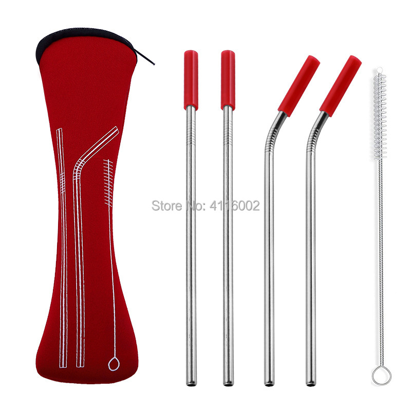50 Sets 4pcs set Reusable Stainless Steel Straws With Silicone Tips With Clean Brush Cloth Bag