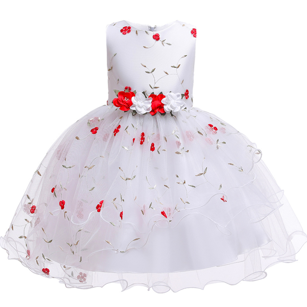 Baby Girls Flower Wedding Party Dress Clothes Kids Princess Children Clothing Thanksgiving Christmas Girls Layered Tutu Dresses(China)
