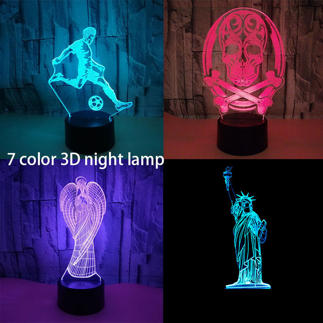 Creative Baby Night Lights Led Statue Of Liberty Table Lamp 7 Color Change Bedroom Bedside Sleeping Light Fixture Xmas Gifts